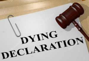 "3D illustration of ""DYING DECLARATION"" title on legal document"