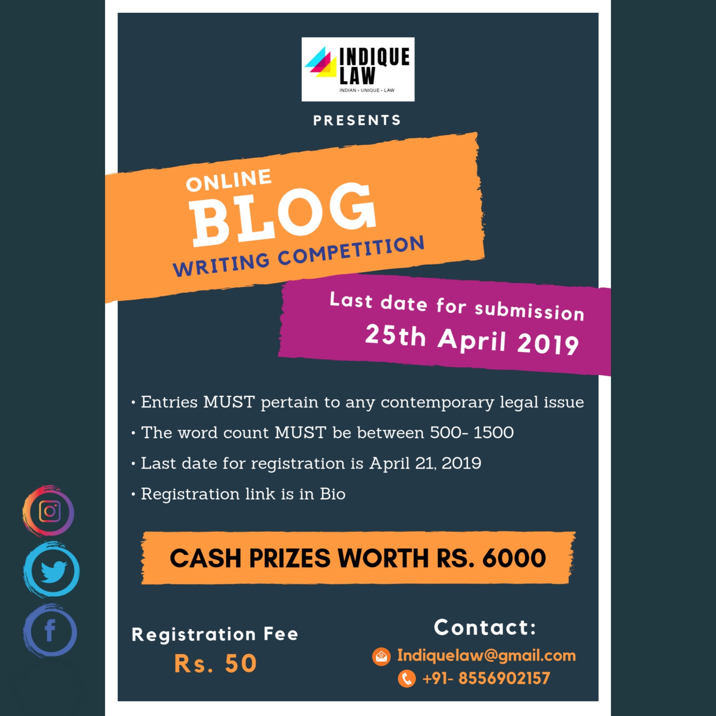 Indique Law Online Blog Writing Competition 2019 - LawOF